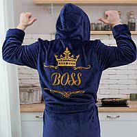 Mахровый мужской длинный халат с именной вышивкой и капюшоном BOSS