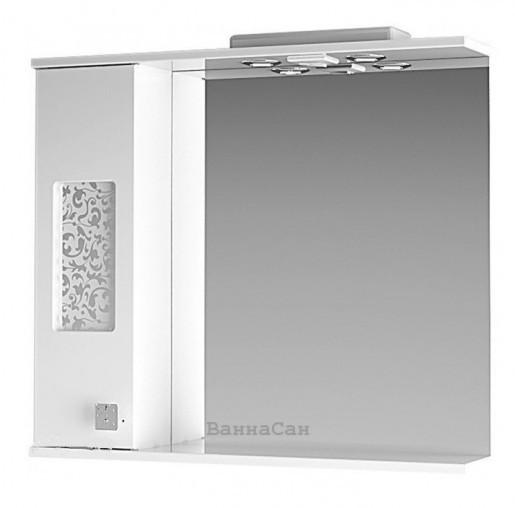 Біле дзеркало для ванної 80 см ВанЛанд ІРИС Ірз 2-80L