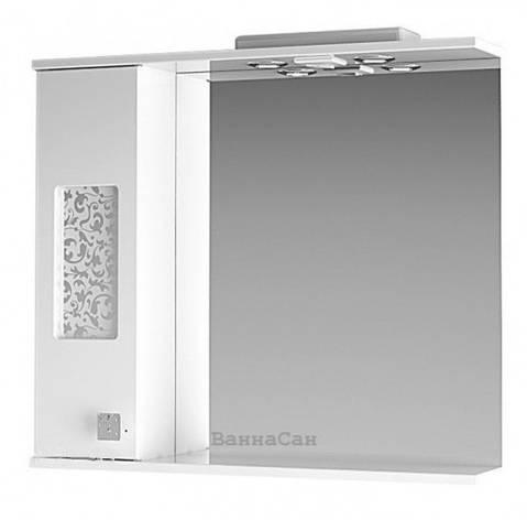 Біле дзеркало для ванної 80 см ВанЛанд ІРИС Ірз 2-80L, фото 2