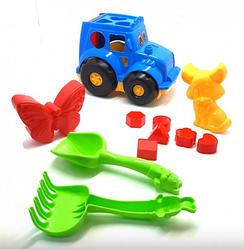 Іграшки для пісочниці сортер трактор пасочки лопатка граблі