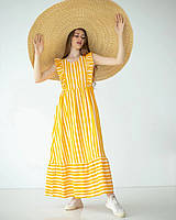 Довга сукня з льону гірчична, фото 1