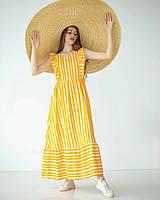 Длинное платье из льна горчичное