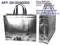 """Еко сумки BOX (03) XXL. ЛАМІНОВАНА. СРІБЛО. """"Paris"""". Арт. 03-0240005. КОРОТКА РУЧКА"""
