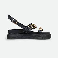 Модные женские босоножки на платформе черные с цепями и шипами Fashion A08