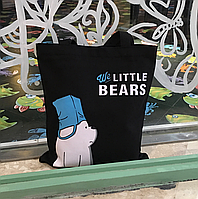 Тканинна Еко Сумка Шоппер City-A We Little Bears з Ведмедем Пакет на Голові Чорна