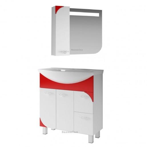 Ванная мебель тумбы зеркала с красным акцентом 80 ВанЛанд ЛАУНЖ 21812-21671