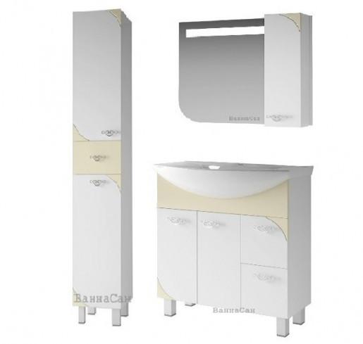 Гарнитур мебели для ванной комнаты 80 см с бежевым акцентом ВАНЛАНД ЛАУНЖ 21773 - 21726 - 21851