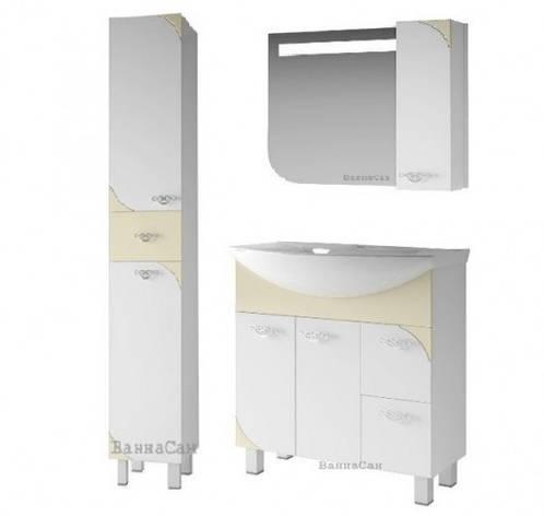 Гарнитур мебели для ванной комнаты 80 см с бежевым акцентом ВАНЛАНД ЛАУНЖ 21773 - 21726 - 21851, фото 2