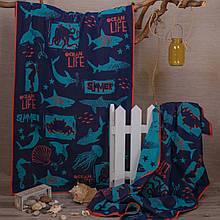 Рушник махровий ТМ Речицький текстиль, Підводний світ 81х160 см