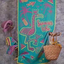 Рушник махровий ТМ Речицький текстиль, Рожевий фламінго 81х160 см