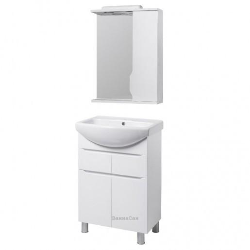 Комплект мебели тумба с зеркалом в ванную 55 см Квел ВИСЛА 22220- 22205