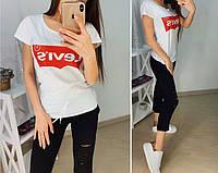 Женские футболки - оптом - 4980-35-мас - Стильная молодежная летняя женская футболка с модным принтом