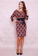Женское платье из трикотажа с широким поясом, фото 1