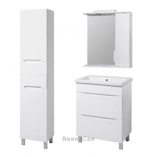 Комплект меблів ванний гарнітур 70 см з білим корпусом КВЕЛ ВІСЛА 22226 - 22206 - 19872