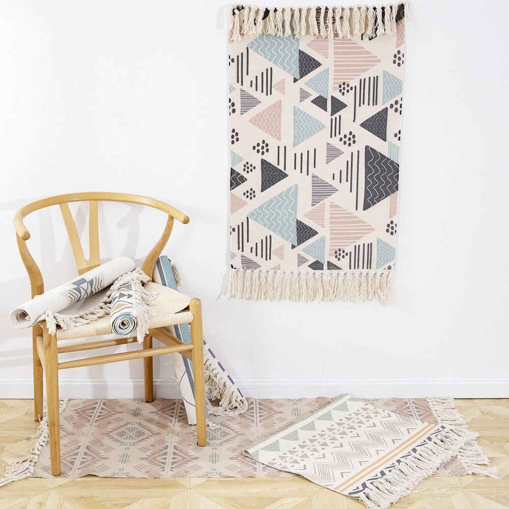 Бесплатная доставка! Ретро богемный коврик ручной работы с бахромой