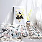 Безкоштовна доставка! Ретро богемний килимок ручної роботи з бахромою, фото 2