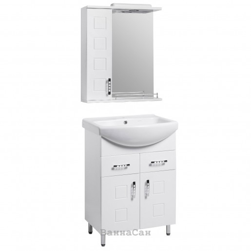 Комплект мебели для ванной тумба 70 см с ручками скоба КВЕЛ КВАТРО 22233 - 21650