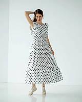 Белое длинное платье из льна
