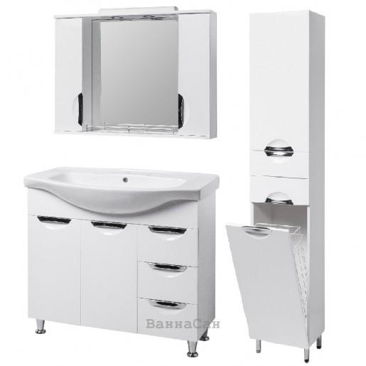 Комплект меблів ванний гарнітур 85 см з білою мушлею КВЕЛЛ ГРАЦІЯ 19487 - 18962 - 19871