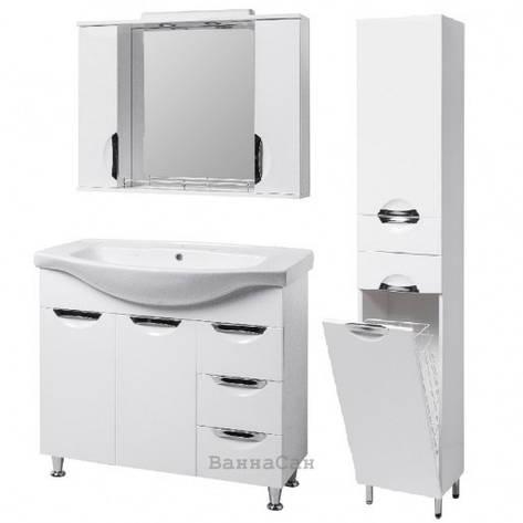 Комплект меблів ванний гарнітур 85 см з білою мушлею КВЕЛЛ ГРАЦІЯ 19487 - 18962 - 19871, фото 2