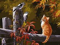 Картина по номерам Babylon Котенок и птички на заборе VP134 30 х 40 см, фото 1