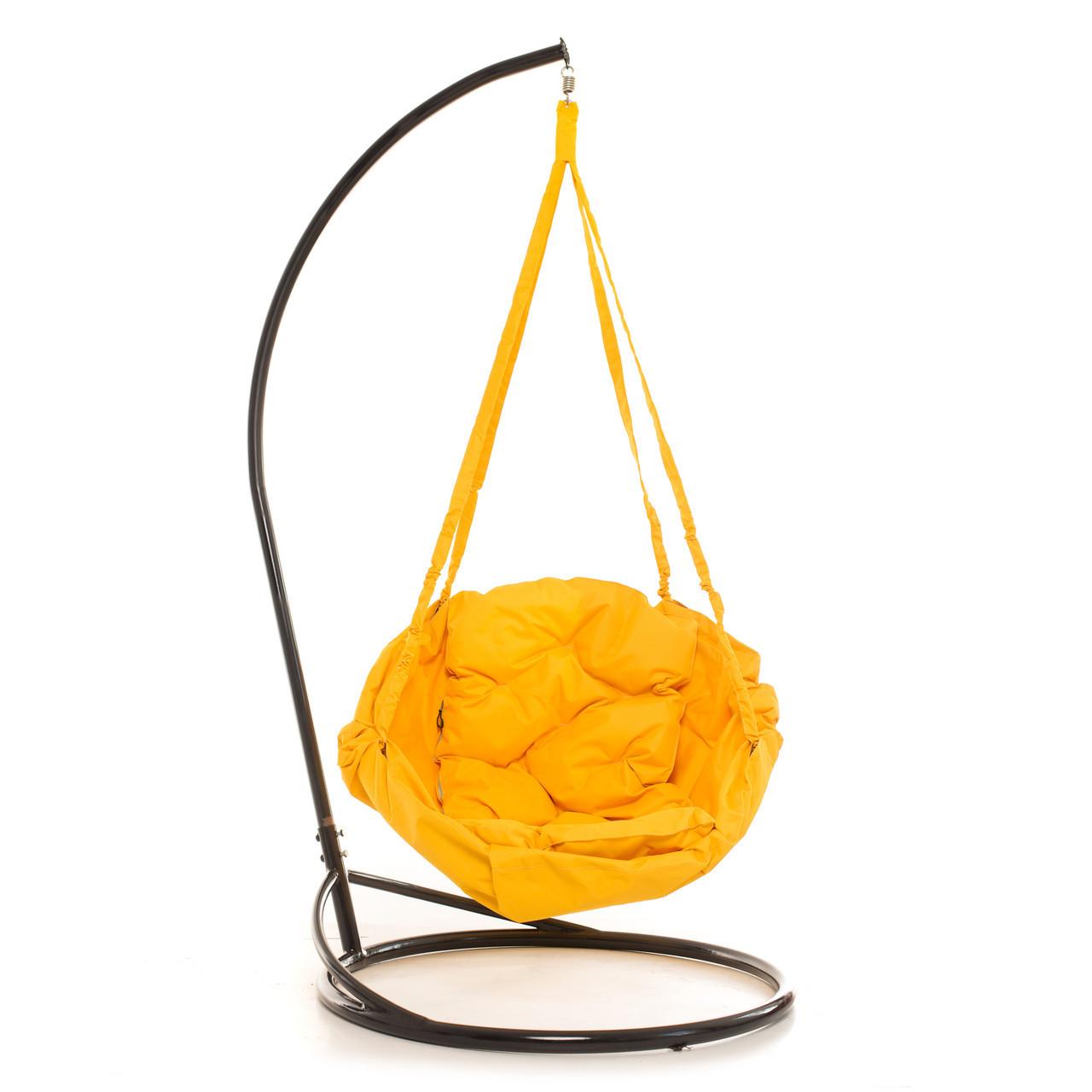 Садовое кресло качеля Kospa на подставке прямоугольная подушка 100 кг - 80 см Желтый