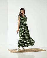 Длинное платье в горошек зеленое