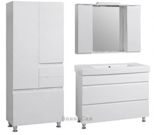 Комплект меблів ванний гарнітур 95 см з емальованим корпусом для змішувача КВЕЛЛ КАНТРІ 22248-22259-22265, фото 2