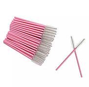 Щеточка для ресниц и бровей розовый+прозрачный