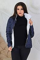 Двухсторонняя куртка женская темно-синий с принтом/ белая M555