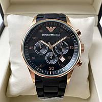 Мужские часы Emporio Armani 5905 наручные кварцевые с хронографом на стальном браслете с каучуком
