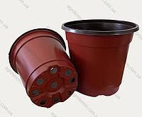 Горшок (120х85х105мм) 850мл. (Китай), технологический для рассады, круглый, коричневый., фото 1