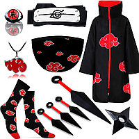 Набор Акацуки из Наруто Naruto: Плащ Акацуки 135см + Повязка + Маска + Носки + Кольцо +Кулон+4 Куная + Сюрикен