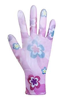 """Рукавички жіночі синтетичні фіолетові з поліуретановим покриттям кольоровий принт 69094 """"б"""