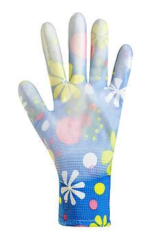 """Рукавички жіночі синтетичні сині з поліуретановим покриттям кольоровий принт 69179 """"б"""""""