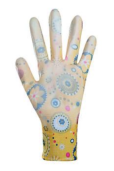 """Рукавички жіночі синтетичні жовті з поліуретановим покриттям кольоровий принт 69219 """"б"""""""
