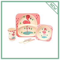 Бамбуковый набор детской посуды Фламинго розовый