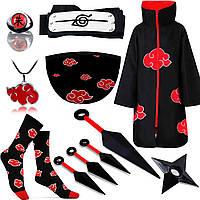 Набор Акацуки из Наруто Naruto: Плащ Акацуки 155см + Повязка + Маска + Носки + Кольцо +Кулон+4 Куная + Сюрикен