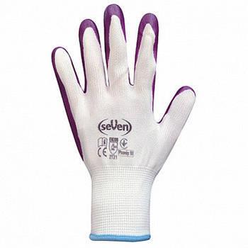 Рукавички seVen синтетичні білі/жовті з синім/фіолетовим/сірим нітриловим покриттям WN-1003 (69204)