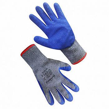 """Рукавиці робочі в""""пов'язані сірі ХБ піна з синім латексним покриттям seVen WL-1015 69334"""