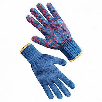 Рукавички seVen робочі трикотажні сині з ПВХ 10 кл 7117 (69345)