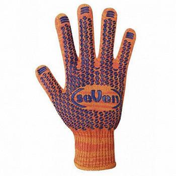 Рукавички seVen робочі трикотажні з ПВХ крапкою помаранчеві 10 кл 7115 (69063)/69645