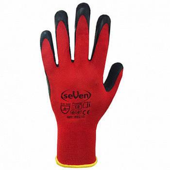 """Рукавички робочі синтетичні червоні з чорним нітриловим покриттям (69386 ) (69712) WN-1005""""б"""""""