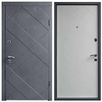 Двері мет. Berez Standard, 85х204, R-відк., Хром, 1cт Grand Цемент маренго, 2ст Grand Nd білий спил