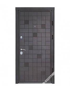 Двері металеві Berez Standart, L-відк., 1,2ст. Хром Каскад NEW/Каскад дуб табак, 85х204