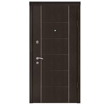 Двері Берез Стандарт 85х204 Паралель алюм. венге гор./Турин дуб ценамон+ дзеркало L