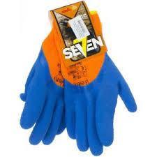 """Рукавички утеплені синтетичні помаранчові з чорним спіненим латексним покриттям 3/4 """"б"""" (69346)"""