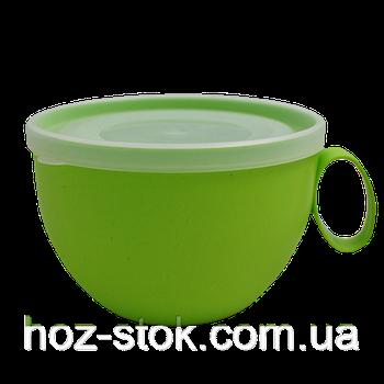 Чашка з кришкою 0,5 л. (оливковий/прозорий) (168006) (10)