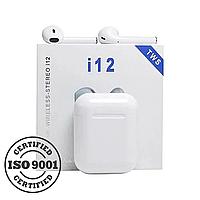 Бездротові сенсорні навушники TWS i12 White