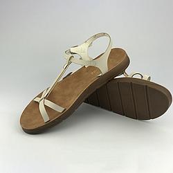 Женские босоножки сандалии плоские р.36-40 из эко-кожи, бежевые Meridiana